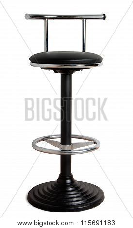 Bar Stool With Cast-iron Base And Leather Seat