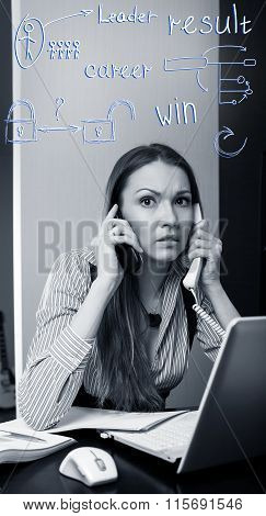 Office worker talking on two cell phone