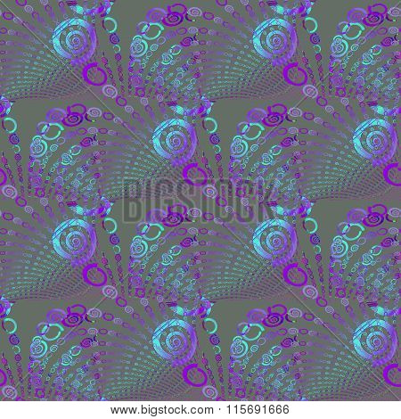 Seamless spiral pattern purple blue gray