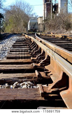 Railroad tracks at switching station