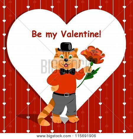 Be my Valentine lettering card with cute ginger cat holding a nice flower on love background.