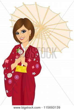 woman wearing red kimono and holding a japanese parasol