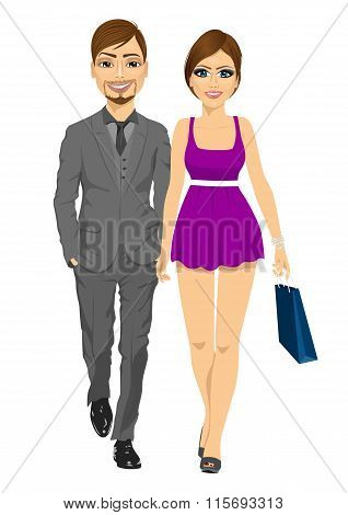 happy blonde woman with shopping bags holding hand of her boyfriend walking forward