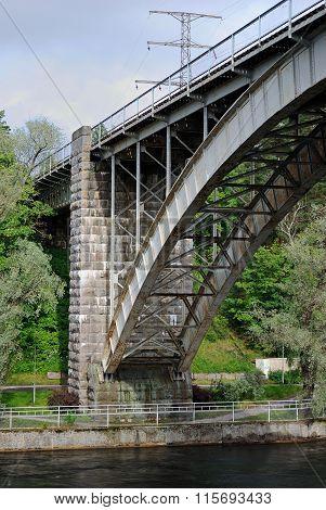Arch railway bridge.