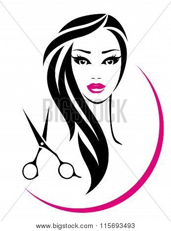 hair salon sign with pretty woman and scissors