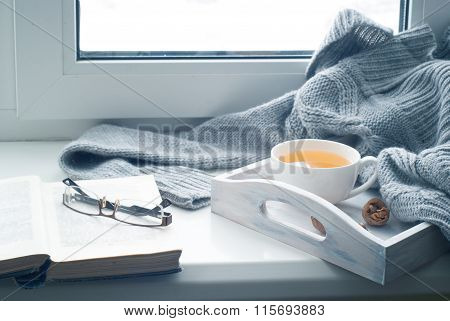 Cup Of Hot Tea On The Windowsill