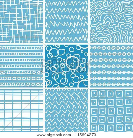 Abstract Doodle Seamless Patterns Set