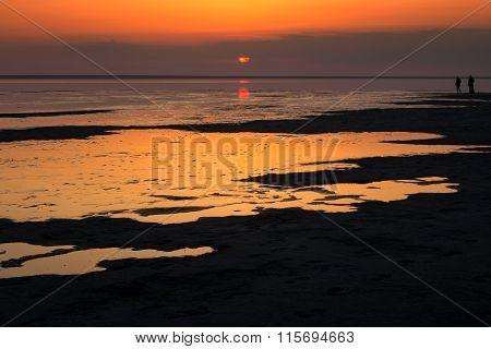 Salt Lake Elton. Beautiful Sunrise Reflection On Water