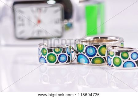 Set Of Silver Jewelry With Colored Enamel