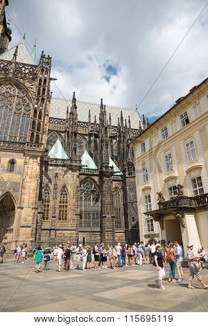 People At Cathedral Of St. Vitus - Prague - Czech Republic