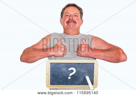Man With Blackboard And Labeling Question Mark