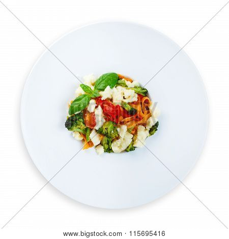 Traditional Italian Colored Pasta With Vegetables