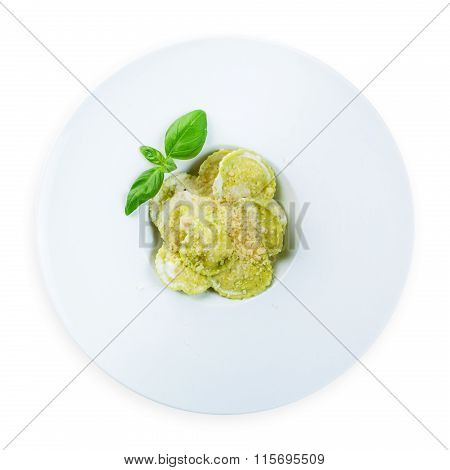 Green Spinach And Ricotta Cheese Ravioli