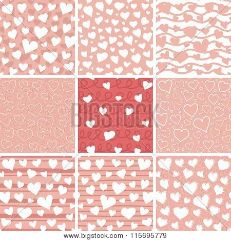 Abstract Hearts Seamless Patterns Set