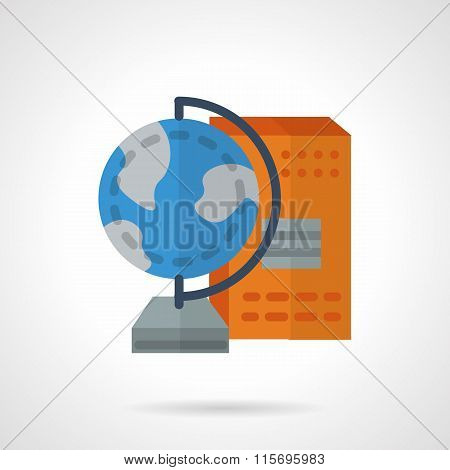 School supplies flat color vector icon. Geography