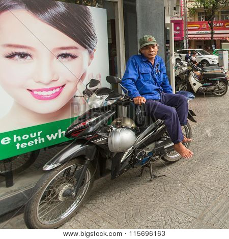 HO CHI MINH CITY, VIETNAM - JAN 13, 2016: Lokal moto rickshaw waiting of cliens. Ho Chi Minh is located in the South of Vietnam, is the country's largest city, population 8 million.