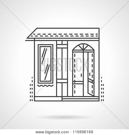 Storefronts flat line vector icon. Candy store