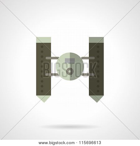 Military robots flat vector icon. Floating vehicle
