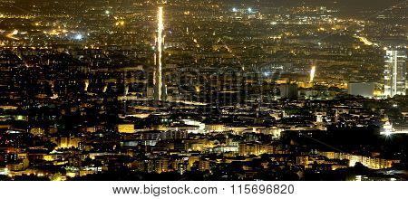 Night Aerial View Of The Populous Metropolis