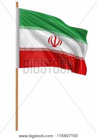3D Iranian flag with fabric surface texture. White background.