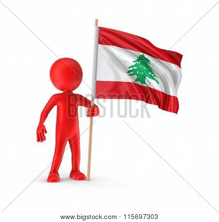 Man and Lebanon flag. Image with clipping path