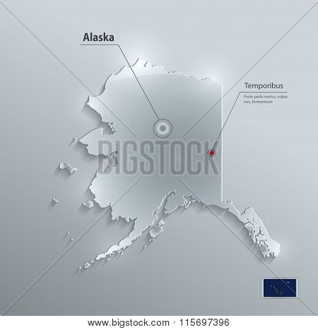 Alaska map glass card paper 3D vector