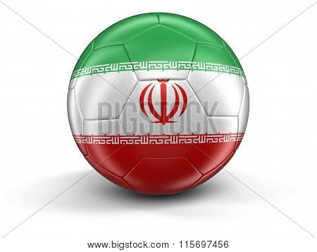 Soccer football with Iranian flag. Image with clipping path