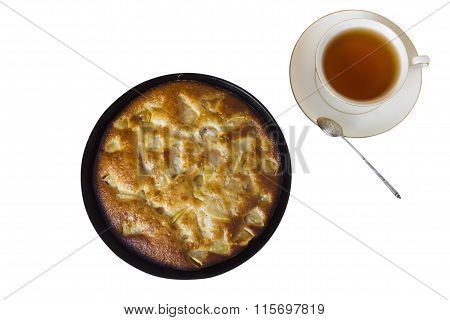 Charlotte. Apple Pie With A Cup Of Black Tea On A White Background