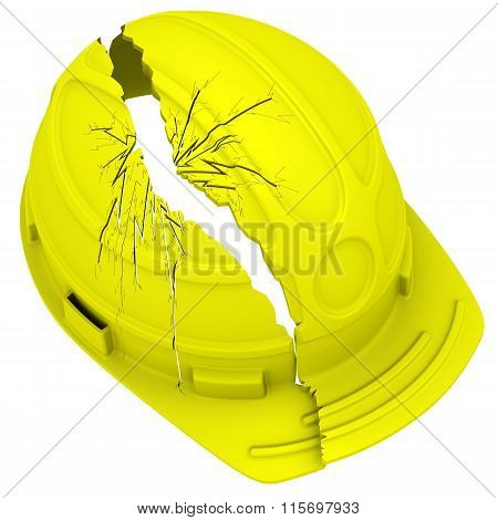 Yellow broken hard hat. Isolated