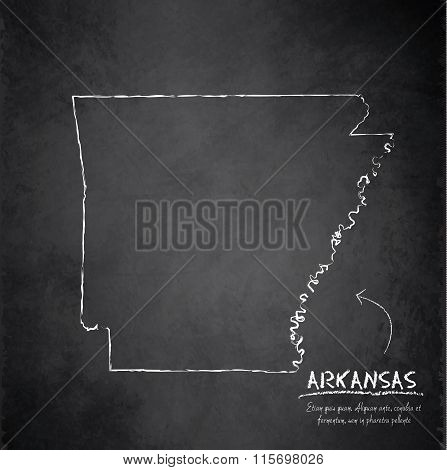 Arkansas map blackboard chalkboard vector
