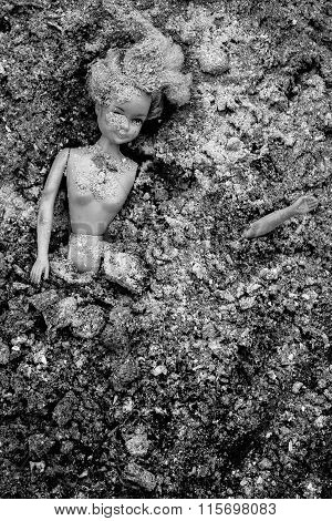 Girl Doll Blow Apart And Lying In Pile Of Ash