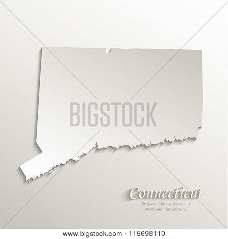 Connecticut map card paper 3D natural vector