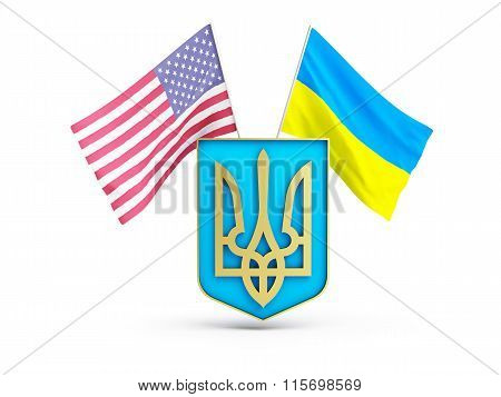 Usa Flag And Of Ukraine On The Background Of The Coat Of Arms
