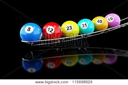 Lottery Balls On On A Black Background