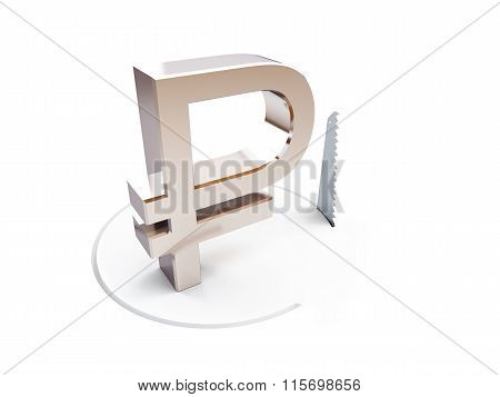 Cutting A Circle With A Hand Saw Sign Ruble On A White Background