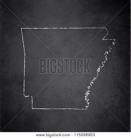 Arkansas map blackboard chalkboard raster