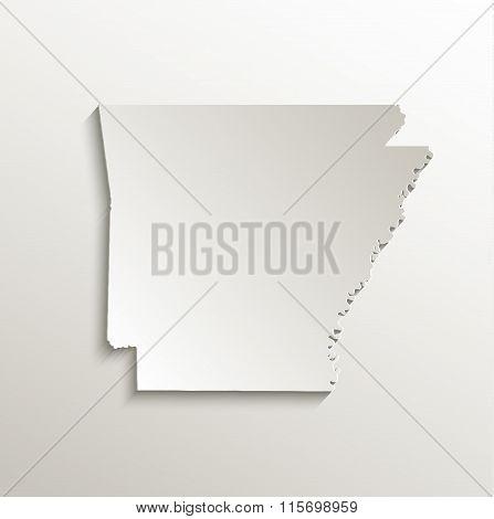 Arkansas map card paper 3D natural raster