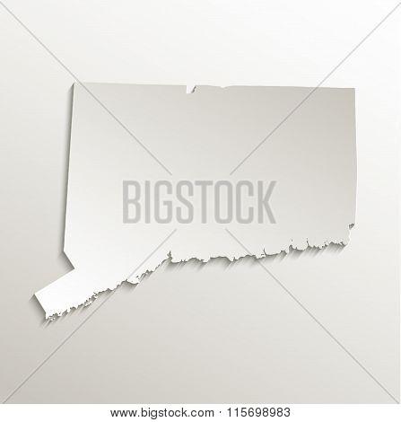 Connecticut map card paper 3D natural raster