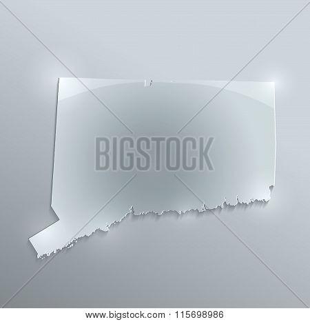Connecticut map glass card paper 3D raster
