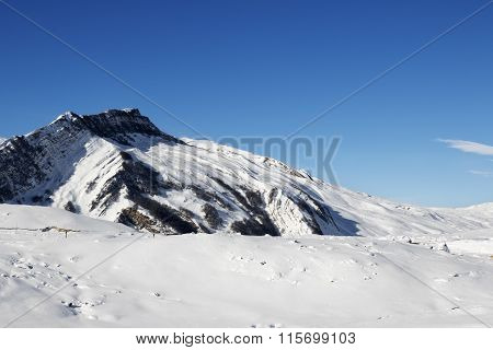 Winter Mountains After Snowfall At Sun Day