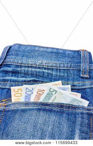 Various Euro Notes In Jeans Back Pocket
