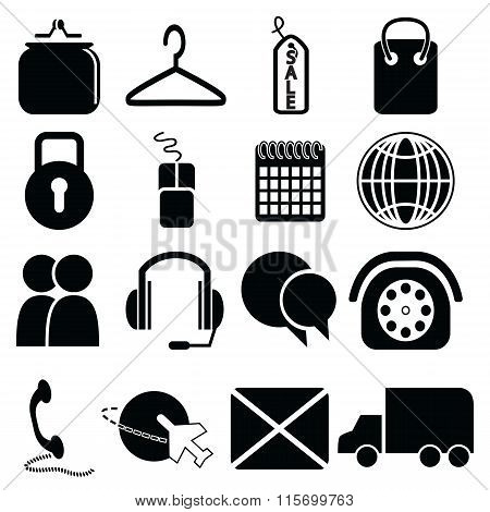 On line Shopping icons set