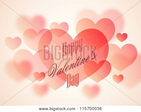 Glossy hearts decorated beautiful greeting card design for Happy Valentine's Day celebration.