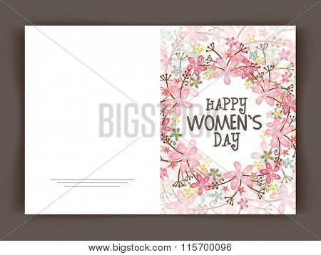 Beautiful flowers decorated greeting card design for Happy Women's Day celebration.