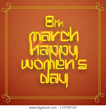 Elegant greeting card design with stylish shiny text 8th March, Happy Women's Day on brown background.