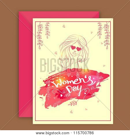 Elegant greeting card design with envelope and illustration of a young girl for Happy Women's Day celebration.