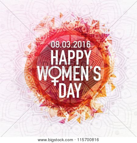 Beautiful floral design decorated greeting card for Happy Women's Day celebration.
