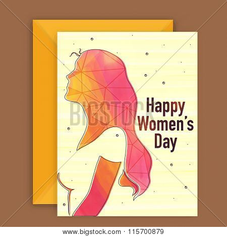 Elegant greeting card design with creative illustration of a young girl for Happy Women's Day celebration.