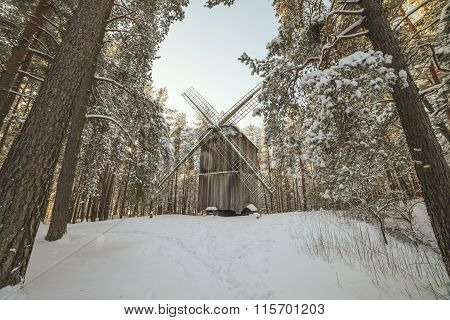 Old wooden windmill