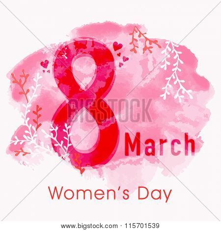 Stylish text 8 March on floral design decorated pink color splash background for Happy Women's Day celebration.